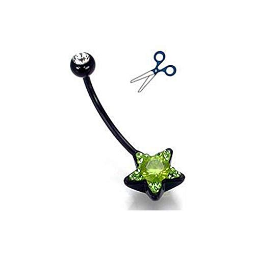 Crystal Explosion Belly Button - Painful Pleasures 14g Black Flexible Bioplast Peridot Star Crystal Explosion Belly Button Jewelry - Cut to Your Size