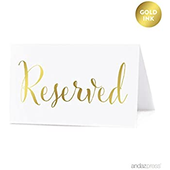 Andaz Press Table Tent Place Cards on Perforated Paper Metallic Gold Ink Reserved Collection  sc 1 st  Amazon.com & Amazon.com: Darice VL2017 Reserved Table Tent Card Black/White ...
