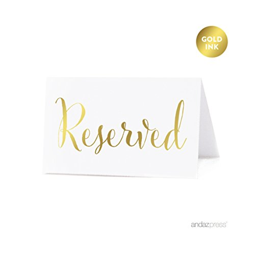 Dessert Table Setting (Andaz Press Table Tent Place Cards on Perforated Paper, Metallic Gold Ink, Reserved Collection, 20-Pack, Placecards Table Settings for Catering, Food, Dessert Table Tent Cards, Not Gold Foil)