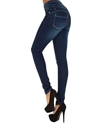 Pantaloni Denim Skinny Indaco Yonglan Jeans Matita Slim Vita Elasticità Alta Fit Donna nHqwRvOSB