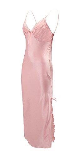 EPLAZA Women Plain Satin Chemise Long Slip Night Dress Gown Sleepwear Loungewear (Large, Pink)