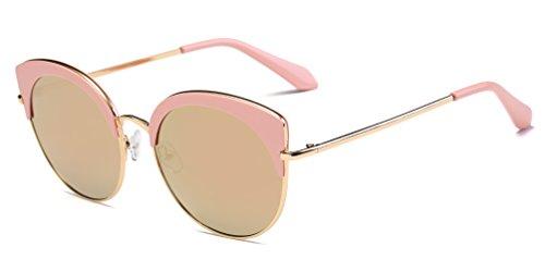 Cramilo Women's Half Rimmed Round Cat Eye - Sunglasses Small Framed