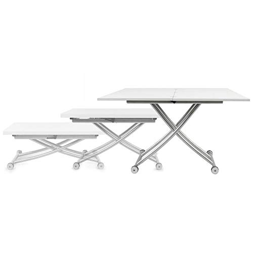 SpaceMaster 2219-GLSWHT X Convertible Adjustable Coffee and Dining Table, White Gloss