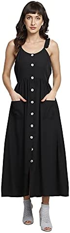 You Forever Women's Party, Office, Casual, Fusion Wear Designer Shoulder Strap Backless Pleated Swing Casual Solid Fit & Flare Dress with Pockets
