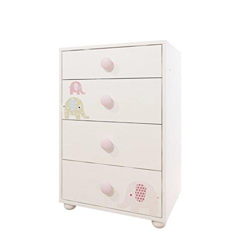 Bony Baby 4-Drawer Chest Nursery Dresser, White with Pink Elephants by ALFEMO