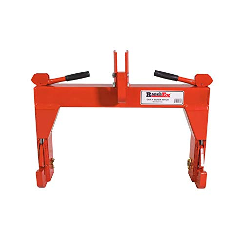 RanchEx 102850 Quick Hitch - Adjustable Top Bracket, Cat 1,  Red - Meant To Use Without Bushings (Hitch Three Point Implements)