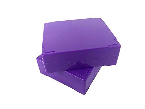 - Premiere Brand 25 Capacity Microscope Slide Storage Box - Purple - ABS Plastic Cork Lined - Self Locking - Stackable