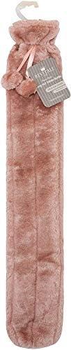 Revitale Extra lange Wärmflasche mit Bommel aus weichem Fell, 72 cm / 2 l (Rose)