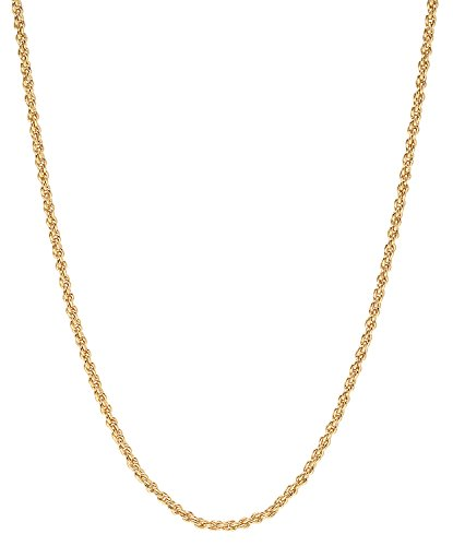 2mm 14k Gold Plated French Rope Chain Necklace, 20