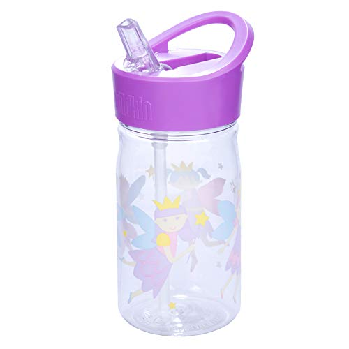 (Wildkin 16oz Water Bottle, BPA-Free, Features Flip-Top Straw and Top Carrying Handle, Perfect for Promoting Hydration On-the-Go, Olive Kids Design – Fairy)