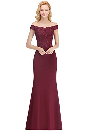- MisShow Womens Embroidery Lace Mermaid Formal Gowns and Evening Dresses Long,Burgundy,4
