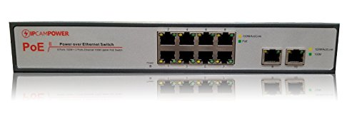 IPCamPower 8 Port POE Network Switch W/ 2 Additional Uplink Ports | Designed for IP Cameras | POE+ Capable of pushing 30 Watts per Port | 130 Watts Total Budget by IPCamPower