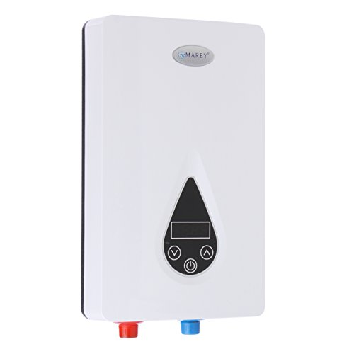 Marey ECO110 220V Self-Modulating 11 kW, 3.0 GPM Multiple Points of Use Tankless Electric Water Heater for US Southern Regions, Small, White