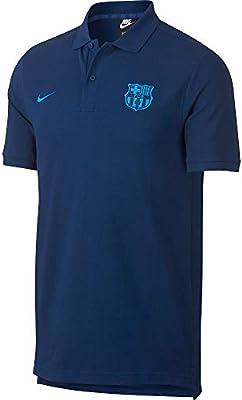15c0824e5b8 Amazon.com : Nike 2018-2019 Barcelona Core Polo Football Soccer T-Shirt  Jersey (Coastal Blue) : Sports & Outdoors