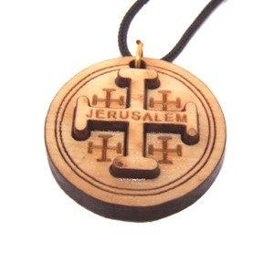Jerusalem Cross 2-Layers Olive wood Laser Necklace (Pendant is : 3.2 cm or 1.... -
