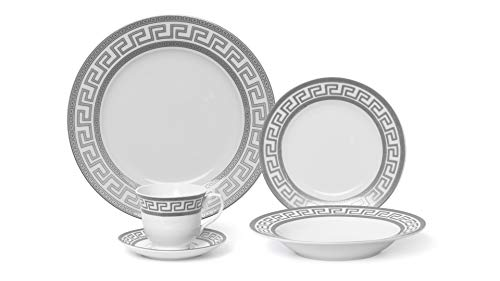 Joseph Seigh GP1347-20P, 20 PCs Fine Porcelain Dinnerware Set, Tableware Set with Antique Greek Pattern, Set of 20
