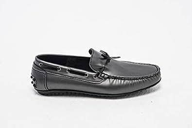 Konfidenz grey patent leather driver tassel moccasins for men