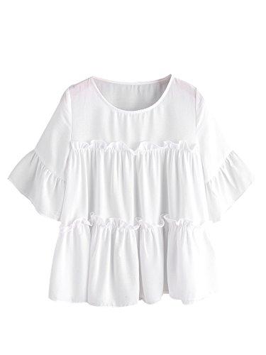 MakeMeChic Women's Ruffle Trim Bell Sleeve Blouse Babydoll Top White (Tiered Ruffle Top)