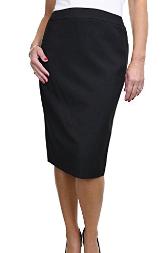 icecoolfashion Ice (2547-1) Smart Pencil Skirt Office Day Fully Lined Washable Black (Fully Lined Pencil Skirt)