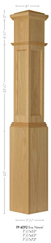 Amish Made FP-4092 Red Oak Flat Panel Box Newel Post - Amish Pedestal