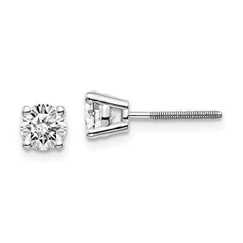 14kw .85ct SI3 G-I Diamond Stud Thread on/off Post Earrings, 14 kt White Gold
