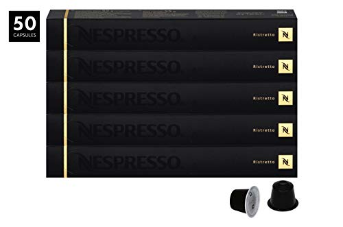 Nespresso Ristretto Capsules for OriginalLine by Nespresso, 50 Count Espresso Pods, Intensity 10 Blend | Strong Roast South American & East African Arabica Coffee - Pods Espresso Coffee