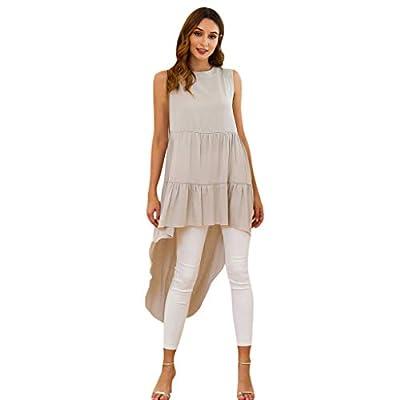 JustWin Women Summer Solid Color Blouse Sleeveless Irregular Bohemian Elegant Shirt Backless Lightweight Tops