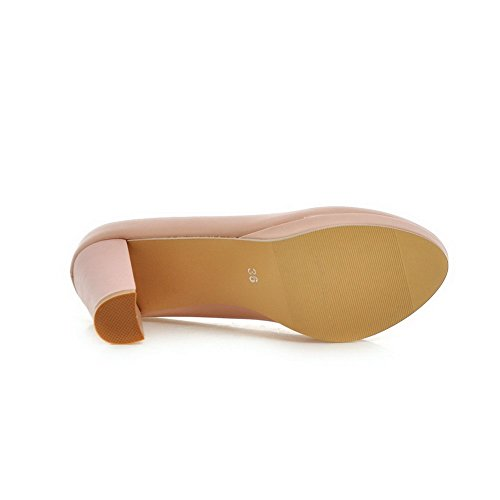 AmoonyFashion Womens Soft Material Round Closed Toe High-Heels Pull-on Solid Pumps-Shoes Pink CEHaNTaboM
