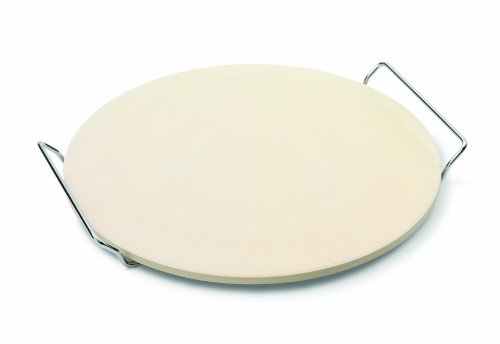 JAMIE OLIVER Pizza Stone and Serving Rack - Round Earthenware Clay - 14 inch (Sheets Pizza)