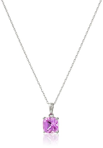 14k White Gold Cushion Cut Created Pink Sapphire Pendant Necklace, 18""
