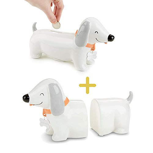 Puppy Piggy Bank & Bookends, Baby Aspen 2 in 1 Baby Registry Essentials, Puppy Dog Dachshund Porcelain Coin Bank, Keepsake for Babies, Newborns, Infants, Toddlers & Kids, Perfect Baby Shower Gift ()