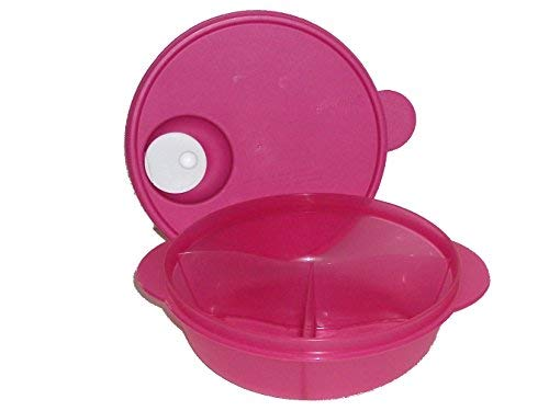 (Tupperware CrystalWave Microwave Lunch N Dish Divided Bowl Fuchsia Pink)