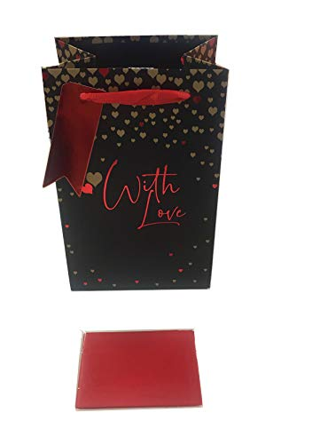 Valentines Gift Bag Tissue Paper Wrap Small Perfume Jewellery Black Red Love