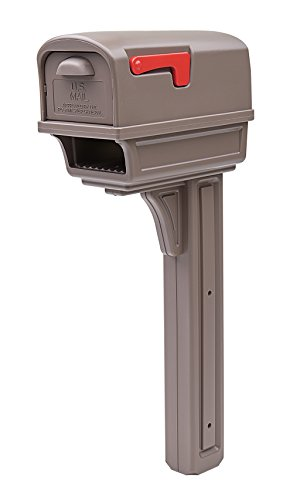 (Gibraltar Mailboxes Gentry Large Capacity Double-Walled Plastic Mocha, All-In-One Mailbox & Post Combo Kit, GGC1M0000)