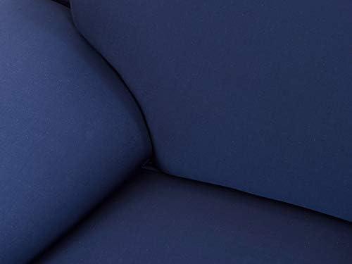 ソファーカバー 2人掛け 肘付き 伸縮素材 優しい肌触り感 滑り止め付き 抱き枕 カバー 猫 犬 子供 汚れ防止 四季兼用 145-185cm 純色 セット ダークブルー