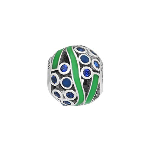 CKK Ocean Life Charm Bead 925 Sterling Silver with Green Enamel Blue Crystal Fits Pandora Charm Bracelet Jewelry Making