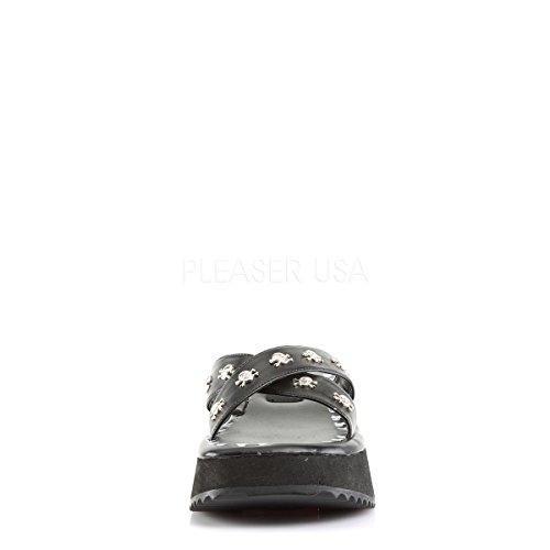 Studs Demonia 05 Sandals Womens Skulls Print Flip Black Platform Skull and qSBIq