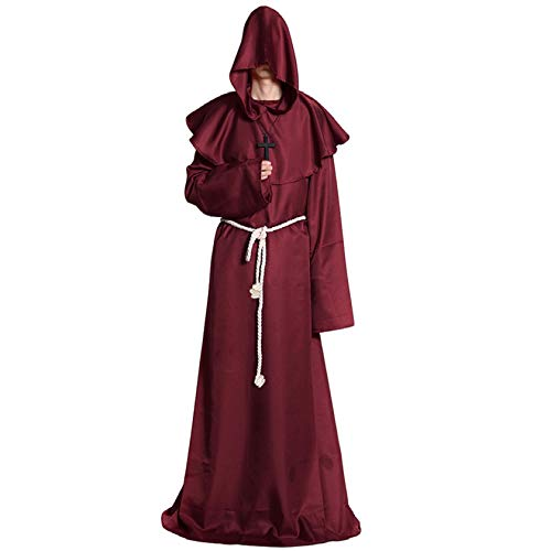 Halloween Costume Medieval Priest Robes Monk Robe-Hooded Cape Cloak for Wizard Sorcerer Pastor Halloween Outfit Red A040RL -