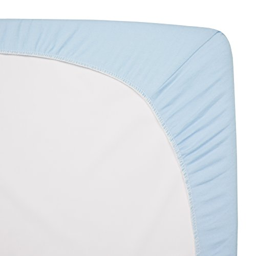 American Baby Company 100% Natural Cotton Value Jersey Knit Fitted Portable/Mini-Crib Sheet, Blue, Soft Breathable, for Boys and Girls, Pack of 2