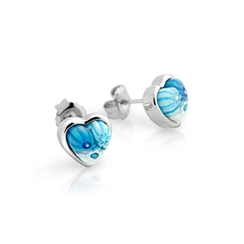 Heart Shape Light Blue Murano Millefiori Stud Earrings Rhodium Plated Sterling (Millefiori Blue Heart Earrings)