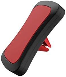 磁気携帯電話ブラケット、カーエアコンポートマグネットナビゲーションブラケットエアアウトレットカーサクションカップデスクトップ (色 : 赤)