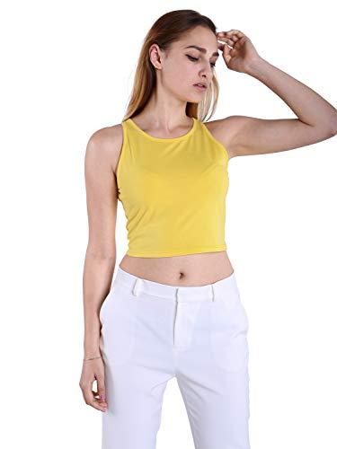 Fyriona Women's Basic Halter Sleeveless Crop Top Yoga Racerback Cut Cropped Tank