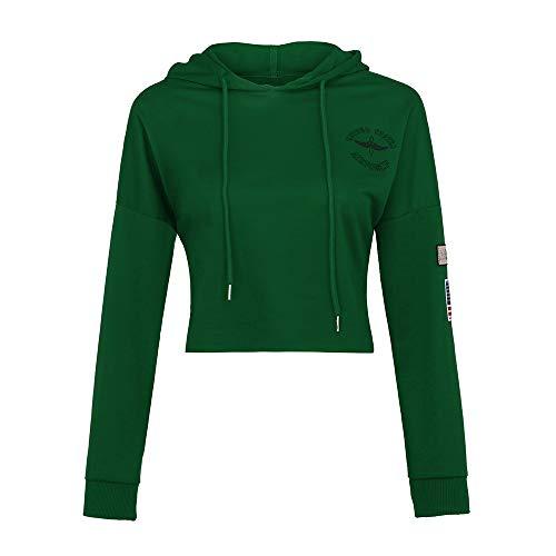iFOMO Long Sleeve Crop Tops for Women,Logo Print Chic Hoodie Hooded Sport Sweatshirt(Green,XXS) - Crop Logo