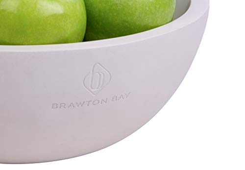 """Decorative Fruit Bowl for Kitchen or Dining Room, Concrete, White - Extra Large Food Bowls for Snacks, Candy - Handmade Kitchen Accessories for Tables and Countertops, 12"""" Diameter by Brawton Bay (Image #5)"""