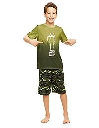 Boys 2-Piece Pajama Set with Fun Design - Turn-Over-Sleeve Top & Shorts
