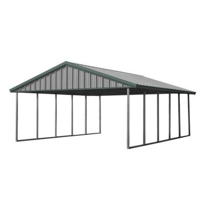 PWS Premium Canopy 20 ft. x 24 ft. Light Stone and Patina Green All Steel Carport Structure with Durable Galvanized Frame