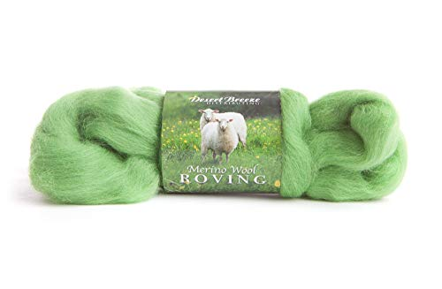 Merino Wool Roving, Kiwi Green Color, 1 Ounce, Choose Only Color You Need, Felting, Top Wool, 100% - Green Wool 100%