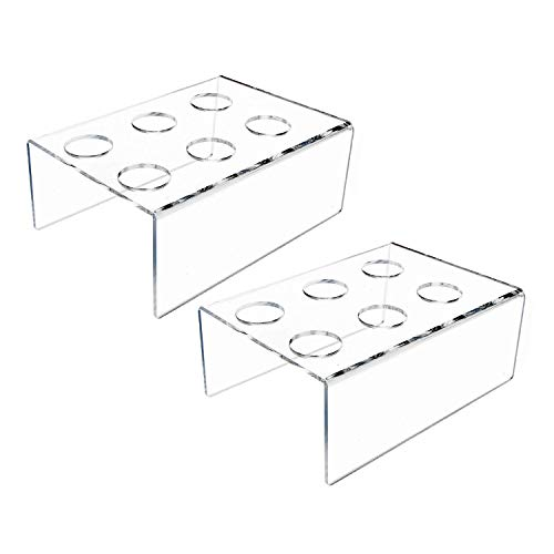DGQ 2Packs 6 Holes Acrylic Ice Cream Cone Holder Stand Acrylic Stand Holder Ice Cream Crisp Tube Cone Holder - Transparent ()