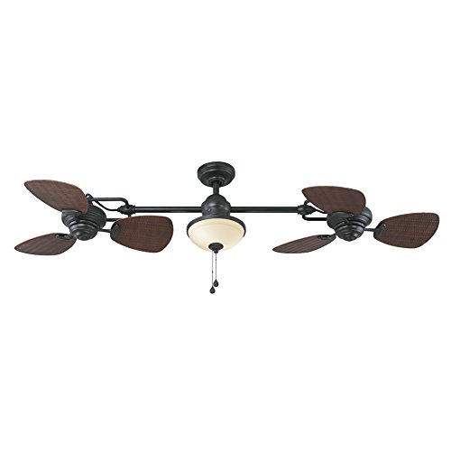 (Harbor Breeze Twin Breeze Ii 74-in Oil-rubbed Bronze Outdoor Downrod Ceiling Fan)