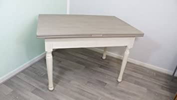 Esstisch ausziehbar grau  Esstisch Tisch ausziehbar grau weiß antikweiß Shabby Landhaus ...